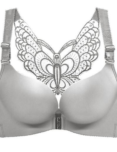 cheap Plus Size Loungewear-Women's Plus Size Butterfly Push-up 3/4 Cup Bra Black Red Wine Big Size US34A / FR90A / INT75A US34B / FR90B / INT75B US34C / FR90C / INT75C US34D / FR90D / INT75D US36A / FR95A / INT80A