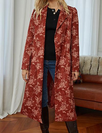 cheap Exclusive-Women's Coat Fall & Winter Daily Long Coat Regular Fit Basic Jacket Long Sleeve Print Geometric Red