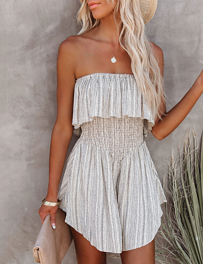 cheap Women's Rompers-Women's Casual Streetwear Street Daily Wear Ruffle Gray Romper Layered Solid Colored