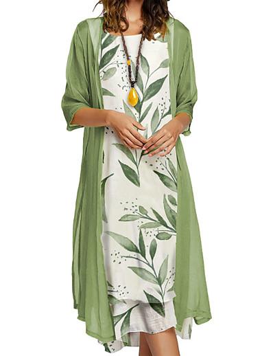 cheap Dresses-Women's Midi Dress Two Piece Dress Blushing Pink Green 3/4 Length Sleeve Print Floral Round Neck Fall Spring Holiday Elegant Casual 2021 Loose M L XL XXL 3XL 4XL