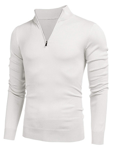 cheap Men's Clothing-Men's Tunic T shirt Solid Color Zipper Casual Long Sleeve Tops Simple Basic Fashion Blue Gray White / Wet and Dry Cleaning