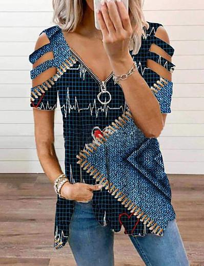 cheap Tops-Women's Blouse Floral Abstract Zipper Print V Neck Tops Blue Purple Yellow