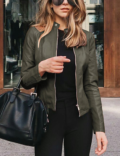 cheap Outerwear-Women's Jacket Daily Spring &  Fall Regular Coat V Neck Regular Fit Casual Jacket Long Sleeve Solid Colored Modern Style Blue Purple