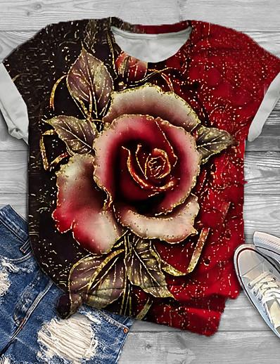 economico DONNE-Per donna Taglia grossa Top maglietta Fantasia floreale Pop art Rosa Con stampe Manica corta Girocollo Essenziale Estate Viola Rosso Verde Grande taglia XL XXL 3XL 4XL 5XL / Taglie forti