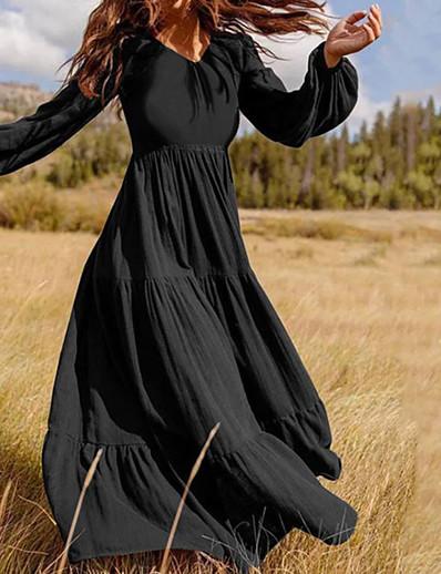 cheap Boho Dresses-Women's Maxi long Dress Swing Dress Dark Green Black Brown Long Sleeve Ruched Pleated Patchwork Solid Color V Neck Fall Spring Holiday Casual Boho Lantern Sleeve 2021 Loose M L XL XXL XXXL 4XL 5XL