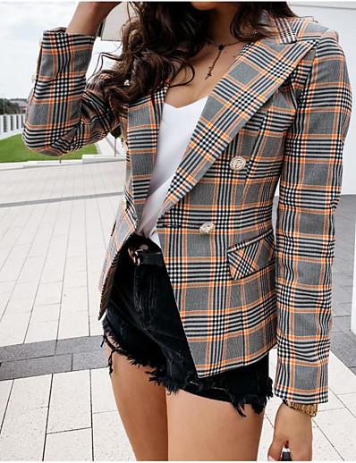 cheap Blazers-Women's Blazer Spring Summer Causal Daily Regular Coat Regular Fit Streetwear Jacket Hot Stamping Classic Plaid / Check Plaid