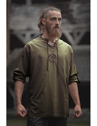 cheap Historical & Vintage Costumes-Warrior Punk & Gothic Medieval Renaissance 17th Century Blouse / Shirt Men's Costume Blue / Green / Black Vintage Cosplay Party