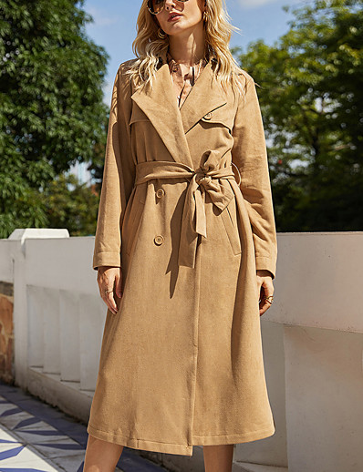 cheap 2021 Trends-Women's Coat Going out Fall & Winter Long Coat Notch lapel collar Regular Fit Basic Streetwear Jacket Long Sleeve Solid Colored Lace up Brown / Work