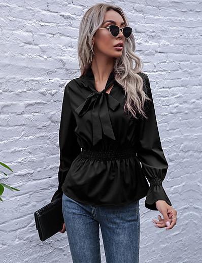 cheap Women's Tops-Women's Blouse Peplum Shirt Plain Standing Collar Lace up Ruffle Basic Streetwear Tops Wine Black
