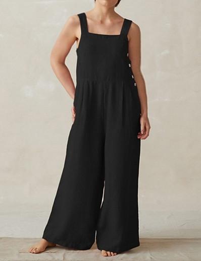 cheap Plus Size Jumpsuits-Women's Plus Size Jumpsuit Wide Leg Pocket Plain Sleeveless Square Neck Basic Spring Summer Rust Red Blue Black XL XXL XXXL 4XL 5XL