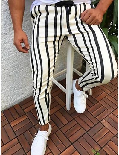 cheap Men-Men's Basic Chinos Slim Pants Full Length Striped Drawstring Stripe Blue Yellow White Red