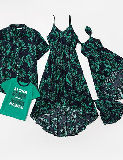 cheap Family Matching Outfits-Family Sets Cotton Family Look Leaf Letter Print Black Sleeveless Daily Matching Outfits / Summer