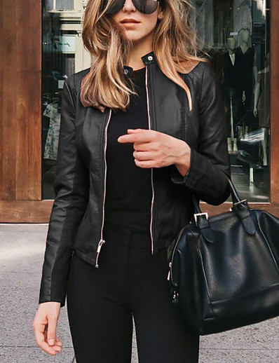cheap Jackets-Women's Jacket Dailywear Fall Winter Coat Classic & Timeless Chic & Modern Jacket Solid Color Classic Style 7#Navy 1#black / Spring