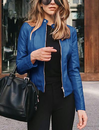 cheap Coats & Trench Coats-Women's Jacket Street Spring &  Fall Regular Coat Slim Fit Chic & Modern Jacket Long Sleeve Solid Color Zipper Light Pink Navy