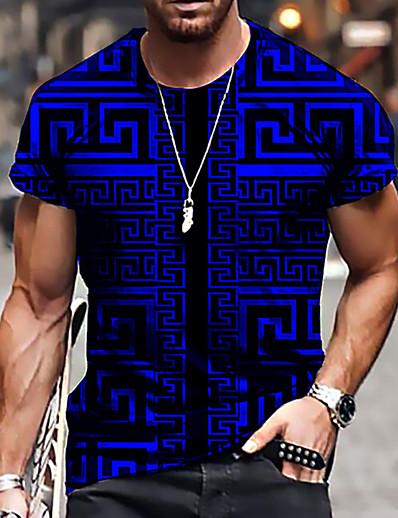 cheap Men's Tops-Men's Unisex Tee T shirt Shirt 3D Print Geometric Graphic Prints Print Short Sleeve Daily Tops Casual Designer Big and Tall Blue Purple Yellow / Summer