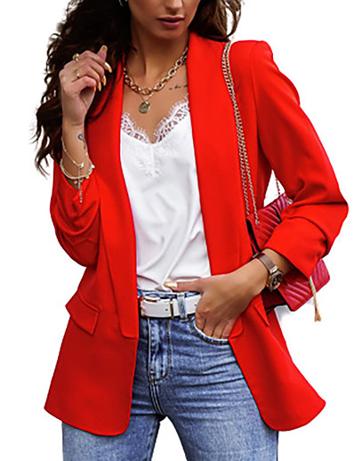 cheap Blazers-Women's Blazer Fall Spring Daily Work Regular Coat V Neck Breathable Regular Fit Business Casual Jacket Long Sleeve Patchwork Solid Color Khaki Red