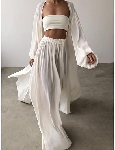 cheap Two Piece Set-Women Boho Plain Formal Evening Going out Two Piece Set Shirt Pant Puff Sleeve Tops