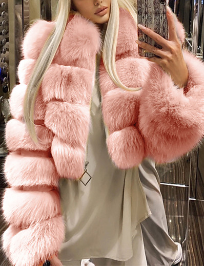 cheap Furs & Leathers-Women's Fur Coat Fall & Winter Wedding Daily Short Coat Warm Loose Basic Jacket Long Sleeve Solid Colored Blue Blushing Pink Wine