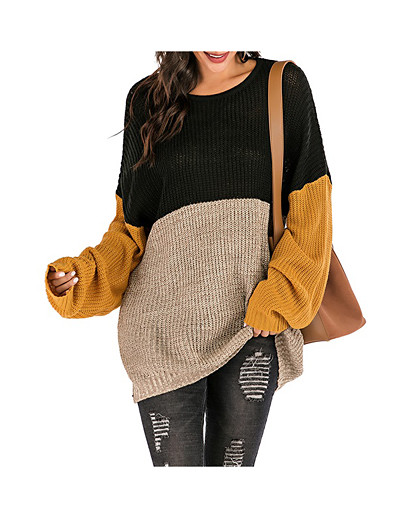 cheap Women's Clothing-Women's Pullover Color Block Pearl Long Sleeve Sweater Cardigans Crew Neck Wine Royal Blue Black / Dry flat
