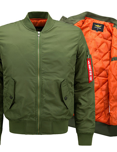 cheap Softshell, Fleece & Hiking Jackets-Men's Hiking Jacket Bomber Jacket Military Tactical Jacket Winter Outdoor Thermal Warm Windproof Breathable Jacket Down Jacket Windbreaker Camping / Hiking Hunting Fishing ArmyGreen White Black Red