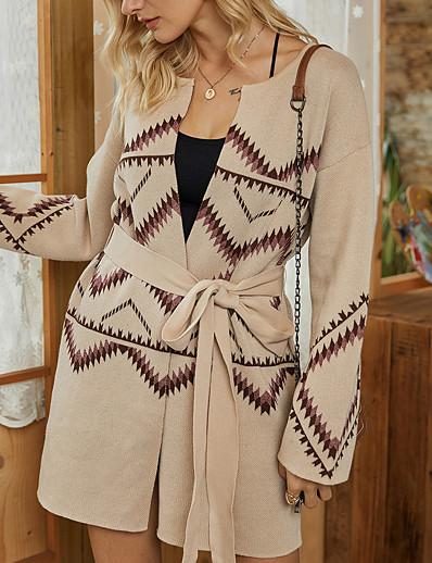 cheap Exclusive-Women's Sweater Coat Fall & Winter Daily Long Coat Regular Fit Basic Jacket Long Sleeve Print Geometric Beige / Cotton