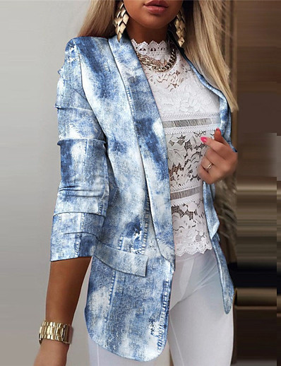 cheap Blazers-Women's Blazer Fall Spring Daily Work Regular Coat Breathable Regular Fit Casual Jacket Long Sleeve Print Striped Butterfly Blue Blushing Pink White