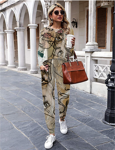 cheap Two Piece Set-Women Basic Streetwear Painting Casual Vacation Two Piece Set Tracksuit Pant Drawstring Print Tops