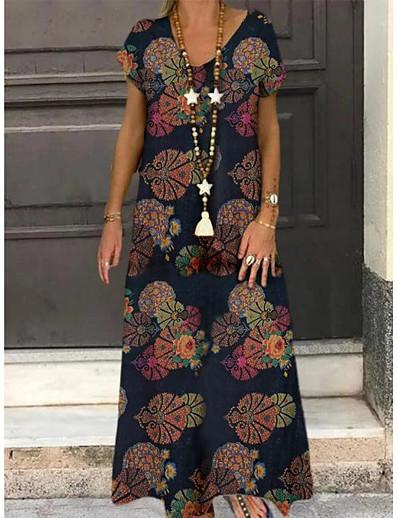 お買い得  レディース大きいサイズドレス-レディースプラスサイズドレスラインドレスマキシロングドレス半袖フローラルグラフィックプリントvネックカジュアル春夏ワインオレンジネイビーブルーlxl xxl 3xl 4xl