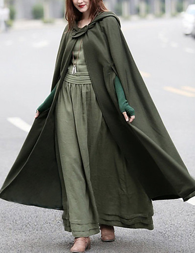 cheap 2021 Trends-Women's Cloak / Capes Causal Fall Winter Long Coat Loose Basic Chic & Modern Jacket Sleeveless Solid Colored Blue Army Green / Spring