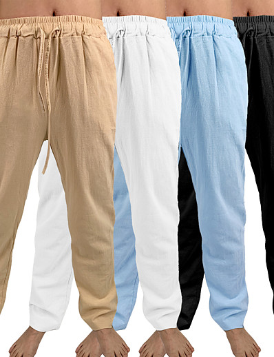 cheap Exercise, Fitness & Yoga-men's yoga pants casual cotton slim full length pants - loose lightweight drawstring yoga beach trousers workout trousers - 7 colors
