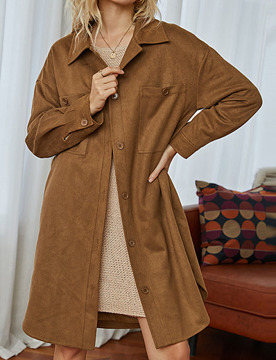 cheap Exclusive-Women's Coat Fall & Winter Daily Work Long Coat Shirt Collar Regular Fit Basic Streetwear Jacket Long Sleeve Solid Colored Brown