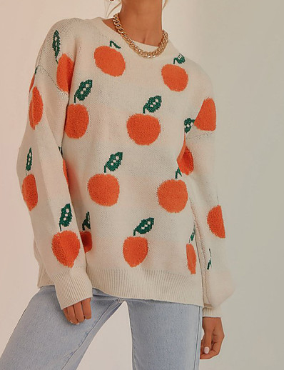 cheap Sweaters & Cardigans-Women's Sweater Fruit Stylish Long Sleeve Sweater Cardigans Fall Spring Crew Neck White Navy Blue