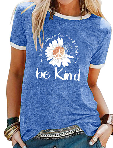 cheap Tees & T Shirts-womens tops short sleeve crewneck casual small daisy printing graphic cotton womens tshirts blue