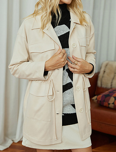 cheap Exclusive-Women's Jacket Fall & Winter Going out Work Regular Coat Shirt Collar Regular Fit Active Basic Jacket Drawstring Solid Colored Beige
