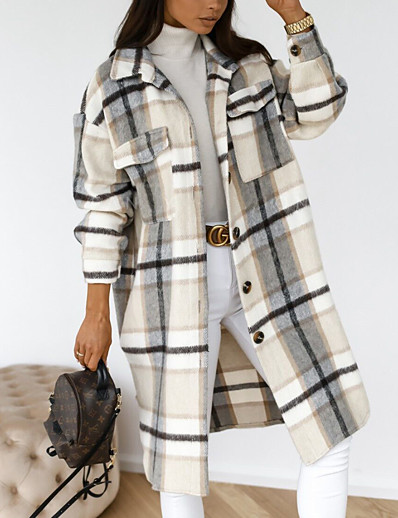 cheap Women's Outerwear-Women's Trench Coat Fall Winter Going out Work Long Coat Shirt Collar Warm Loose Basic Streetwear Jacket Long Sleeve Patchwork Print Plaid Gray Camel Black