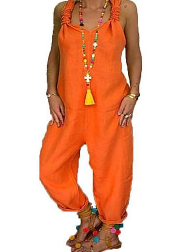 cheap Plus Size Jumpsuits-Women's Plus Size Jumpsuit Plain Sleeveless Basic Spring Summer Blue Yellow Orange L XL XXL XXXL 4XL
