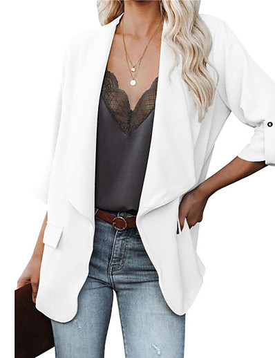 cheap Blazers-Women's Blazer Fall Winter Business Daily Work Regular Coat Open Front Warm Breathable Regular Fit Casual Jacket Long Sleeve Quilted Solid Color White Black Red