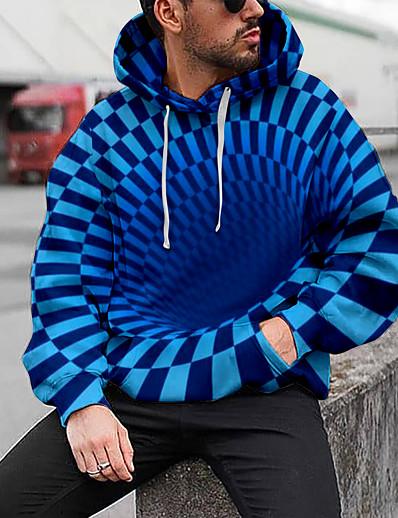 cheap Men's 3D-Men's Graphic Abstract 3D Pullover Hoodie Sweatshirt Hooded 3D Print Daily Basic Hoodies Sweatshirts  Long Sleeve Blue Purple Black