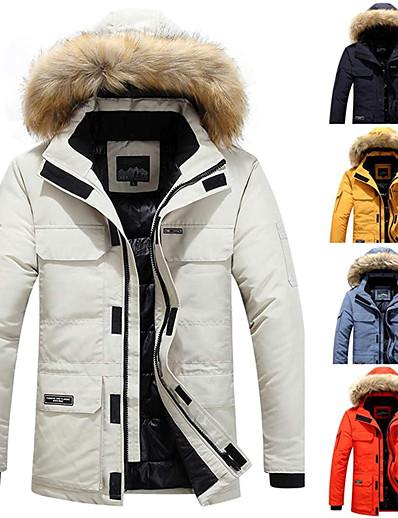 저렴한 소프트쉘, 플리스 & 하이킹 재킷-남성용 하이킹 다운 자켓 패딩 하이킹 재킷 군사 전술 재킷 겨울 집 밖의 보온 방풍 경량 통기성 아웃웨어 윈드브레이커(바람막이) 트렌치 코트 스키 캠핑 & 하이킹 피싱 오렌지 크림 스크린 색상 회색 파랑 옐로우 / 멀티 포켓 / 멀티 포켓