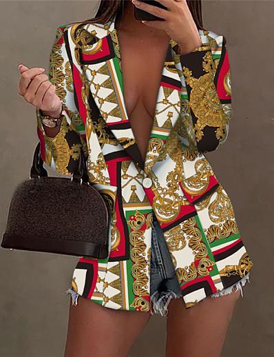 cheap Blazers-Women's Blazer Fall Winter Street Daily Long Coat Warm Breathable Regular Fit Casual Jacket Long Sleeve Print Color Block Symbol Gold Black