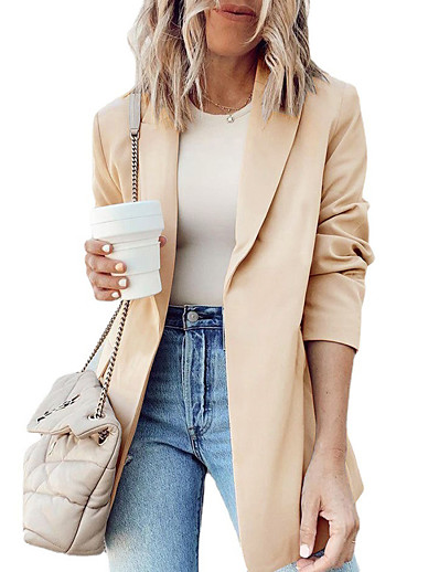 cheap Blazers-Women's Blazer Fall Winter Daily Work Regular Coat Turndown Open Front Warm Breathable Regular Fit Casual Jacket Long Sleeve Quilted Solid Color Khaki Black