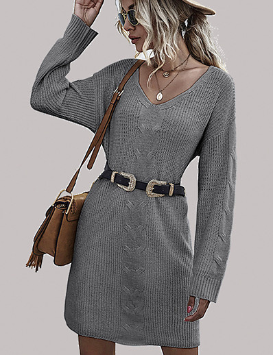 cheap Women's Clothing-Women's Pullover Dress Solid Color Knitted Stylish One Piece Long Sleeve Sweater Cardigans Fall Winter V Neck Dark Gray Beige