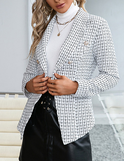 cheap Blazers-Women's Blazer Fall Winter Daily Work Regular Coat Warm Regular Fit Casual Jacket Long Sleeve Patchwork Plaid / Check White Black