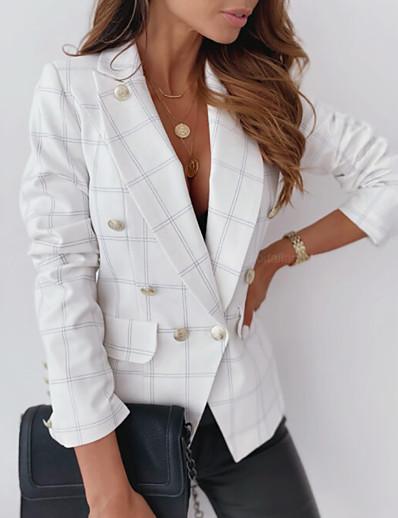 cheap Blazers-Women's Blazer Fall Spring Daily Regular Coat Breathable Regular Fit Casual Jacket Long Sleeve Patchwork Plaid / Check Khaki White Black