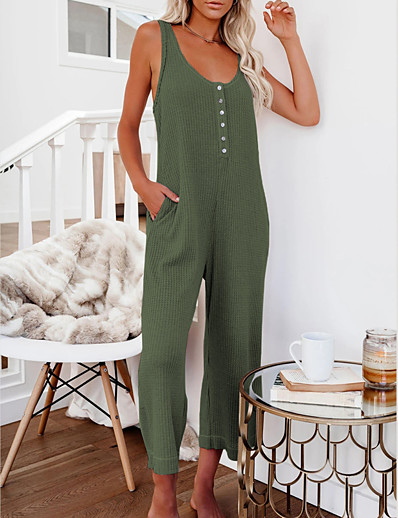 cheap Women's Overalls-LITB Basic Women's Button Front Jumpsuit Solid Color Romper Sleeveless Daily Basics