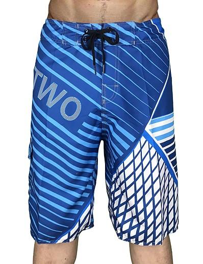 cheap Surfing, Diving & Snorkeling-Men's Swim Trunks Swimwear Board Shorts Inelastic Quick Dry Breathable Drawstring Stripes Gradient Swimming Diving Surfing Snorkeling Summer