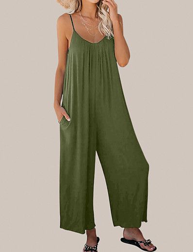 cheap Women's Overalls-LITB Basic Women's Spaghetti Strap Jumpsuit Sleevelss Pants Stretchy Comfy Summer Outwear Daily Office