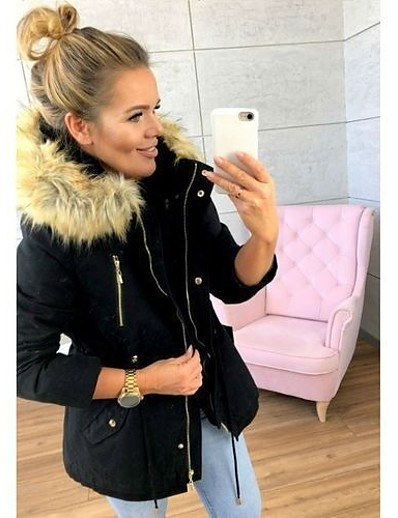 cheap Down& Parkas-Women's Parka Fall Winter Spring Street Causal Daily Wear Long Coat Regular Fit Casual Daily Jacket Long Sleeve Zipper Pocket Solid Colored Blue Blushing Pink Wine / Lined
