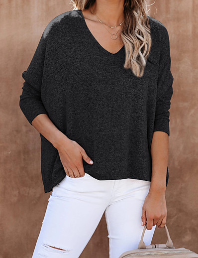 cheap Women's Clothing-Women's Pullover Solid Color Oversized Knitted Stylish Long Sleeve Sweater Cardigans Fall Winter V Neck Khaki Light gray Black
