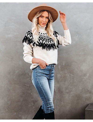 cheap Sweaters & Cardigans-Women's Pullover Abstract Tassel Casual Long Sleeve Sweater Cardigans Fall Winter Turtleneck Black